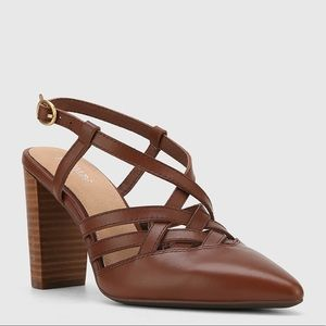 Wittner NEW 41 10 Leather Pointed Toe Block Heels